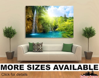 Wall Art Giclee Canvas Picture Print Gallery Wrap Ready to Hang - Waterfalls in Forest - 60x40 48x32 36x24 24x16 18x12 3.2