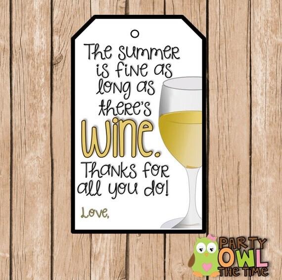 white wine favor tag white wine gift tag teacher