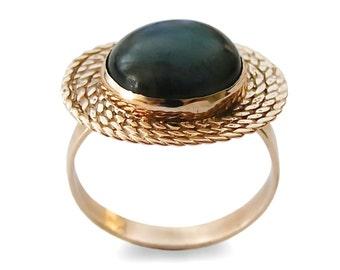 Dark stone gold ring, 14K Gold, Labradorite Gold ring, Grey Stone ring, braided gold ring, Ethnic engagement ring, Large Statement ring,sale