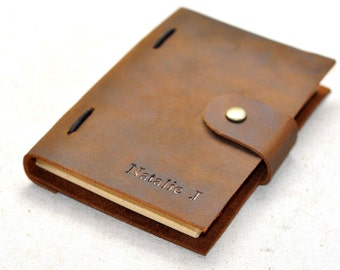 Unique custom Leather Journal, vintage brown journal(free stamp)