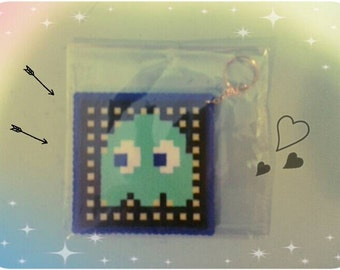 "Hand made plastic large key chain/ bag accessory, charm. PACMAN ""inky"" monster pixel art !"