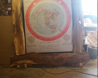 Huge wooden framed flat earth map
