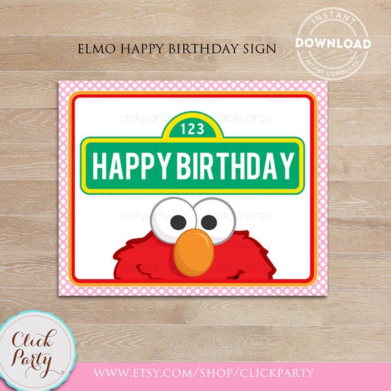 Elmo Girl Happy Birthday Sign Party Printable Door
