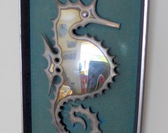 Framed Burnished Metal Seahorse Plaque - Artist Made - Unusual Item - 1980's ?