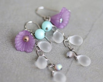 Puple Flower and White Drop Cluster Earrings, Frosted Glass, Lucited Flower Earrings, Long, Handmade Earrings