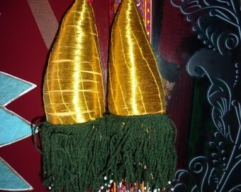One Pair of Golden Tribal Tassels, Tashqorgani Tassel