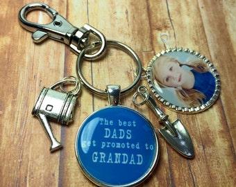 Grandad keychain keyring, The best Dads get promoted to Grandad, Grandad gift, Gardening