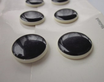 """10 Vintage Lansing Black + White Plastic Buttons, 2 Cards, 3/4"""" and 7/8"""""""