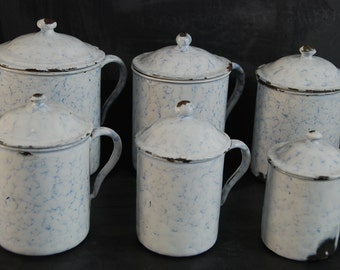 Set of 6 vintage French enamelware canisters with lids and handles, white with  blue marble effect. Country Kitchen. French shabby chic.