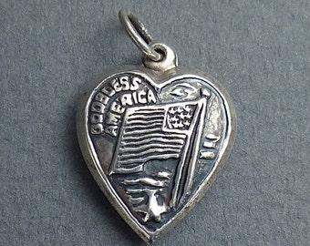 God bless America- silver heart