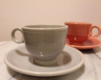 Vintage Grey Fiestaware and Rose Fiestaware Cup and Saucer Set