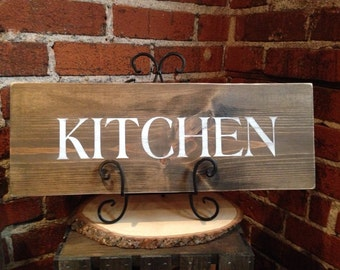 Kitchen hand distressed wood sign