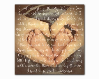 Custom personalized baby poem song lyric quote picture print