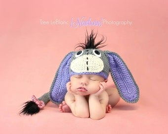 Newborn Props - Baby Eeyore Hat with little tail - Newborn-12 Month Sizes - Animal theme hat for newborn - Made to Order