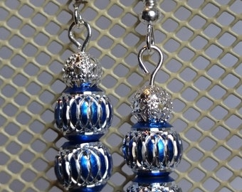 Blue Sapphire Aluminium Bead Earring with filigrane bead # 109