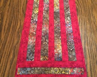 Red table runner, batik table runner, striped table runner, quilted table runner, hand quilted table runner