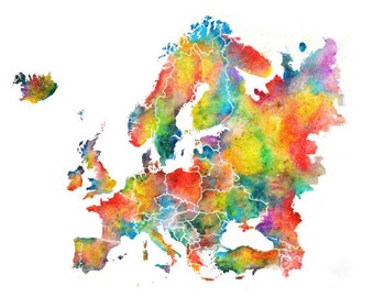 Europe Watercolor Map, Abstract Art, Wall Art, Home Decor,  Giclee Print