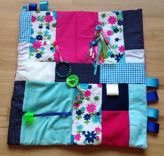Alzheimer's Fidget Quilt Fidget Blanket Stroke Rehabilitation Dementia Patient MOD Hot Pink FLOWERS by Restless Remedy