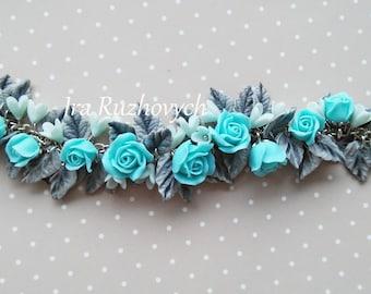 Polymer Clay Jewelry,  Bracelet  , Handmade Flowers
