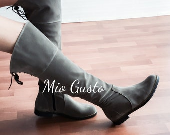 CARLA Flat Knee High Boots / Grey / Boots / Knee High Boots/ Flats / Flat Boots
