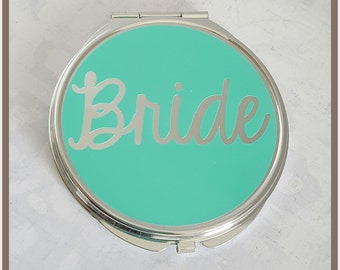 Silver Compact Mirror, Great gift for the Bride, Bridal Party, or Best Friend.