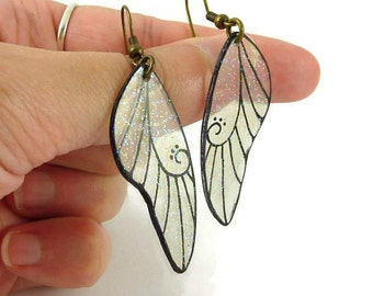 Transparent and black fairytale wings earrings with glitters, glittery dragonfly wings earrings, plastic pixie wings earrings (recycled CD)