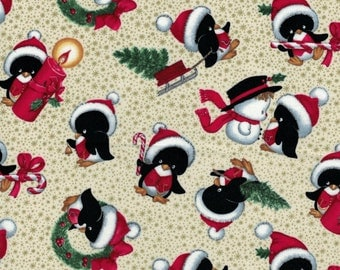 Christmas Penguin Toss on Tan Background by Elizabeth's Studio- 100% Cotton Quilting Fabric