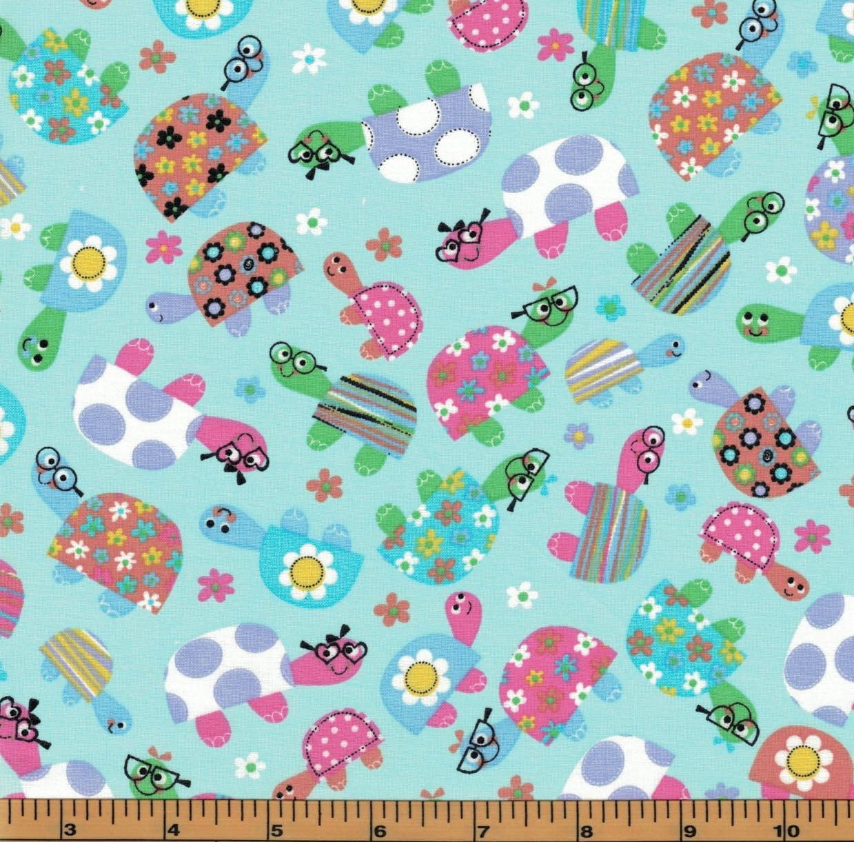 Multicolor turtles on aqua background tweetie pie for Galaxy quilt fabric