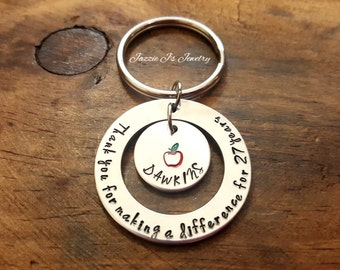 Thank You For Making A Difference Teacher Keychain, Teacher Retirement Gift, Teacher Appreciation, Teacher Gift, Teacher Keepsake