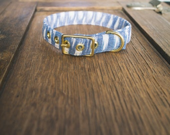 Blue Ikat + Brass Collar - Made in Melbourne