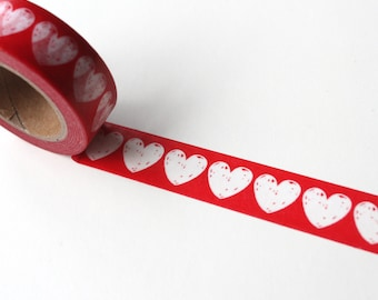 Love heart Red washi tape, Wedding washi tape Heart crafting tape