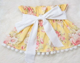 Yellow floral ruffle Skirt- baby skirt, little girl skirt, baby smashcake outfit, pom pom skirt