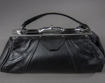 Vintage 70's Doctor Bag Style Clutch Purse,Vintage Black Leather Purse, 50's  Clutch Handbag