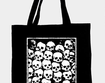 Black cotton tote bag with original illustration SKULLS,ecological white ink