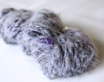 Handspun Mini Art Yarn - Merino, Flax, Angora, Bamboo, Teeswater - Purple, Gray - Pied Flycatcher