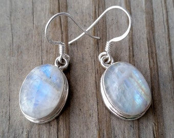 Moonstone Earrings - Sterling Silver Moonstone Drop Earrings - Rainbow Moonstone Jewelry- Gemstone Earrings - Nepal Jewelry