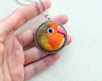 Pet portrait, tropical jewelry, custom parrot, personalized parrot necklace, custom lovebird, custom pet jewelry, custom portrait, bird