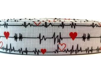 Medical Ribbon, Medical Grosgrain, EKG Ribbon, EKG Grosgrain, Nurse Ribbon, Nurse Grosgrain, Doctor Ribbon, Doctor Grosgrain, Heart Ribbon