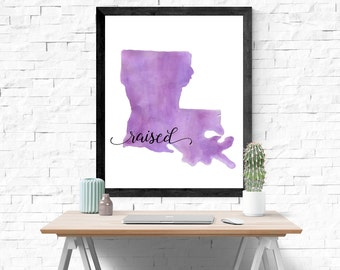 Louisiana State Print, State Watercolor Painting, State Sign