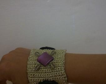 knitted bracelet, cuff bracelet, lux bracelet, crochet bracelet, boho bracelet