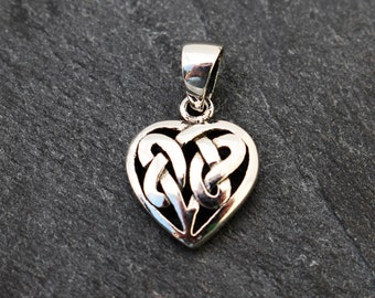 Tiny Celtic Knot Heart Pendant -  Sterling Silver, Charm
