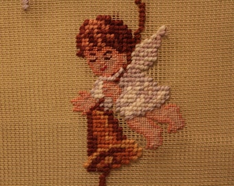 Needlepoint Preworked Canvas Bell Pull / Wall Hanging Little Angels with Bells