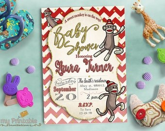 Sock Monkey Baby Shower Invitations / Digital Printable Invite / DIY Party Invitation