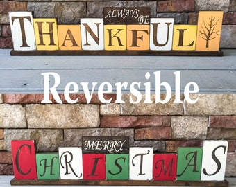 Thanksgiving Christmas Reversible Wood Block Decor