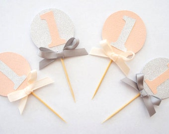 Set of 12 peach and silver glitter cupcake toppers- personalised- custom- first birthday- baby shower- age- 1st birthday
