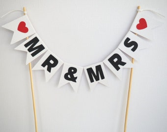 Mr & Mrs cake topper- garland- wedding- love
