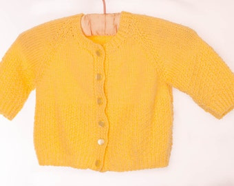 Yellow hand knitted long sleeved cardigan, boy or girl, vintage pre-loved woolie