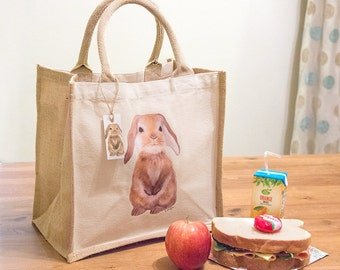 Lunch Bag, Food sandwich bag, Reusable Mini Jute Bag with Bunny Print, printed tote bag