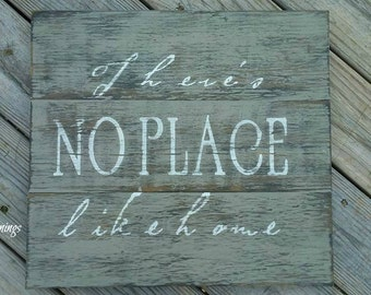Theres no place like home sign, Rustic wood sign, Rustic wood signs, Wood signs, Hand painted wood signs