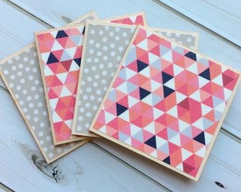 Geometric Coaster, Pink Coasters, Grey Coasters, Decorative Coaster Set, Geometric Pattern, Geometric Decor, Home Decor, Coasters, Wood Set